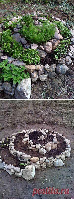 Клумба-спираль. Попробуйте сделать овощную клумбу-спираль с пряными или овощными травами. Такая спираль обеспечивает микроклимат и различные типы почв для различных видов растений.