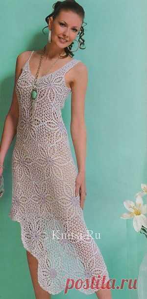 Ассиметричное платье из мотивов. Вязание для женщин / Платья / Крючком