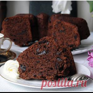 Самый - самый шоколадный кекс с черносливом и грецкими орехами