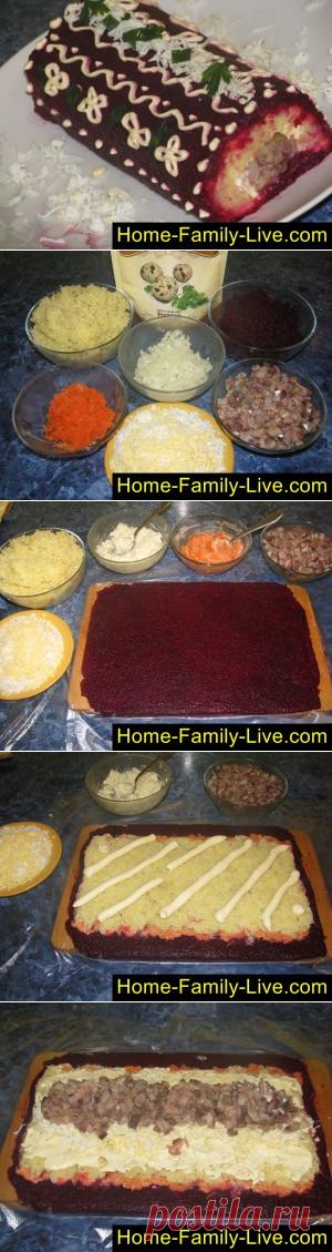 Селедка под шубой, рулет - пошаговый фоторецепт - салат в форме рулетаКулинарные рецепты