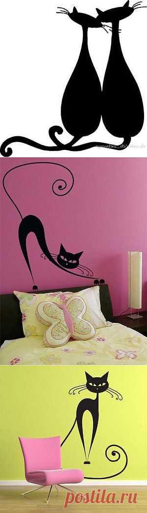 Трафареты кошек для украшения интерьера