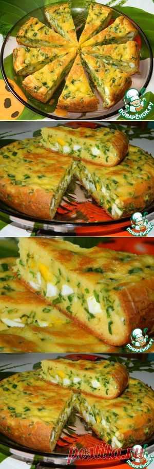 El pastel con los huevos y el cebollino - la receta de cocina
