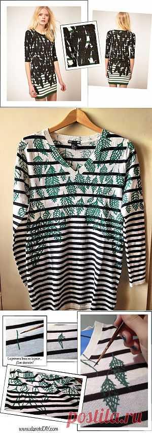 Декор тельняшки перьями (DIY) / Тельняшки / Модный сайт о стильной переделке одежды и интерьера