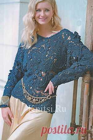 Синий пуловер. Вязание для женщин / Пуловеры / Крючком