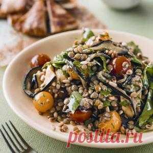 Салат из баклажанов ичечевицы, пошаговый рецепт с фото