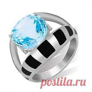 Кольцо серебряное с голубым топазом - 7500 руб