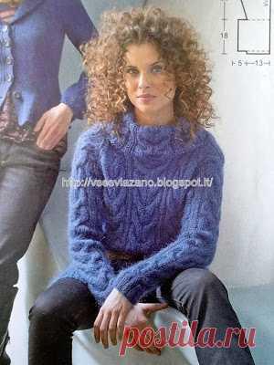 ВСЕ СВЯЗАНО. ROSOMAHA.: Пушистый свитер из мохера с косами.