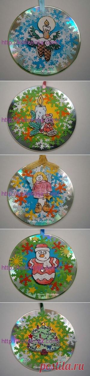 Год дня, новогодние открытки шары из дисков