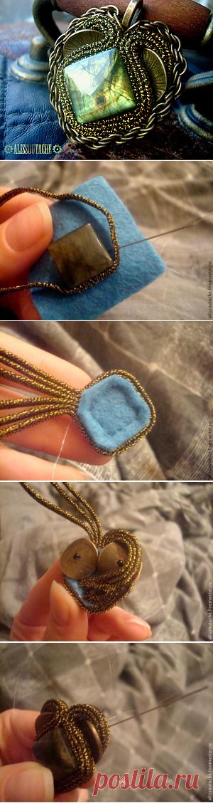 Мини-МК по кулону в технике сутажной вышивки - Ярмарка Мастеров - ручная работа, handmade