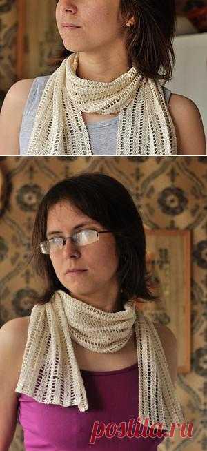 Ажурный летний шарфик спицами.