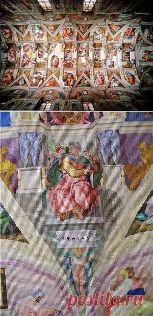 Роспись сикстинской капеллы крестиком / Вышивка / Модный сайт о стильной переделке одежды и интерьера