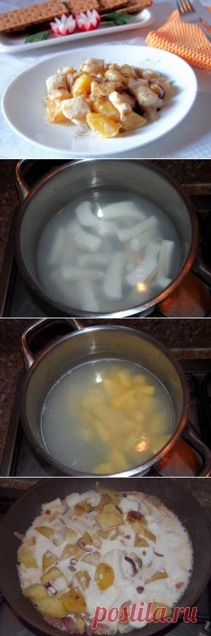 Картошка с кальмарами тушеные в сметане Если повезет и картошка с кальмарами, тушеные в сметане останутся на второй день, то вы еще больше оцените их вкус.