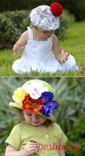 Вязанные крючком шапочки для лета для самых маленьких.