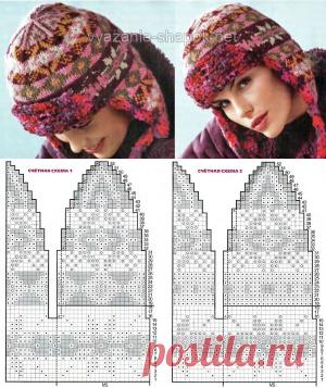 Пестрая женская шапка-ушанка спицами | ВЯЗАНИЕ ШАПОК: женские шапки спицами и крючком, мужские и детские