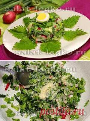 Салат из черемши и крапивы