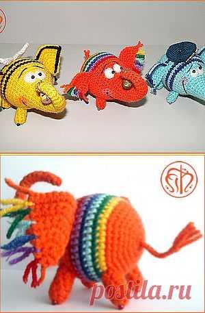 Вязаные радужные слоники - Ярмарка Мастеров - ручная работа, handmade