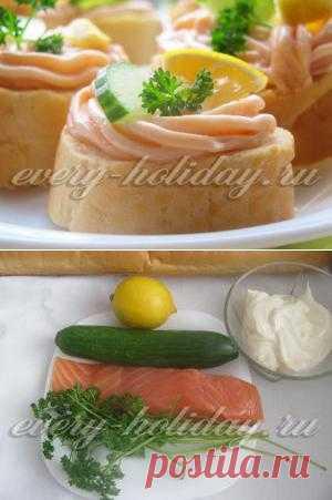 Рецепт праздничных бутербродов с пастой из красной рыбы