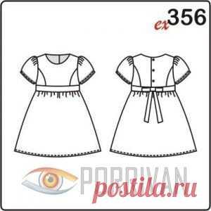6e056094e57 Выкройка платья для девочки с застёжкой на спине - Porrivan