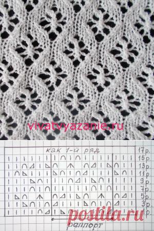 мелкие ажурные ромбы схема узора для вязания спицами вязание