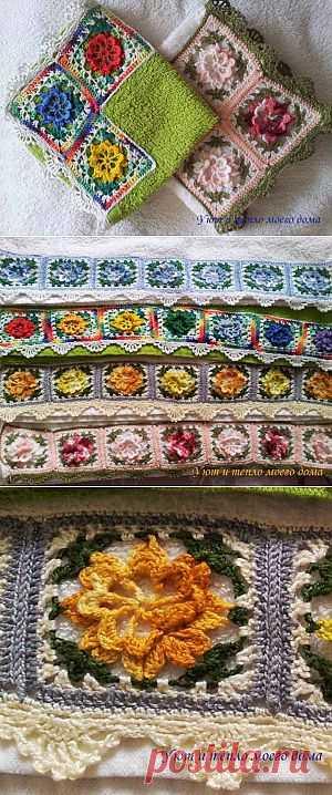 (+1) - Полотенца с вязаной каймой | РУКОДЕЛИЕ