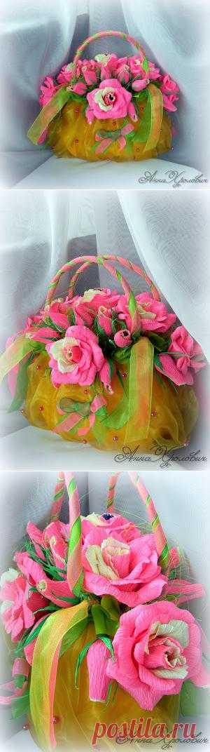 Сладкая сумочка для девочки (букет из конфет). Из чего же, из чего же, из чего же сделаны наши девчонки))) Конечно, конфеты можно подарить и без всех этих изысков, но с ними намного интересней)))