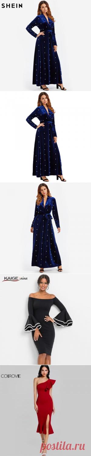 шеин перл неметаллических комжа завернуть погружения линии, бархат платья королевский синий глубокий V шею элегантный сексуально длинные рукава макси - платья - покупки точки