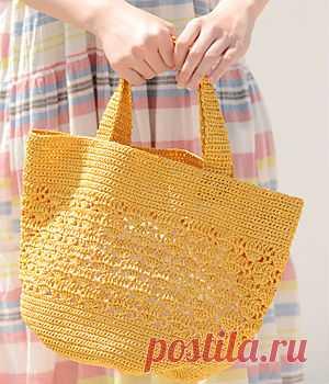 Летняя сумка-шопер крючком. Схемы. / knittingideas.ru