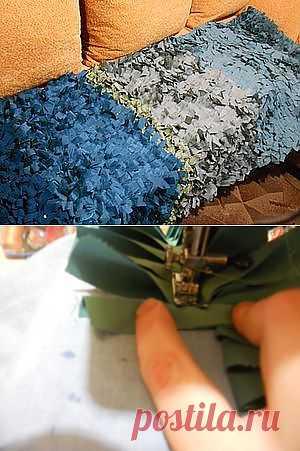 Пушистый ковер из старой одежды - Ярмарка Мастеров - ручная работа, handmade