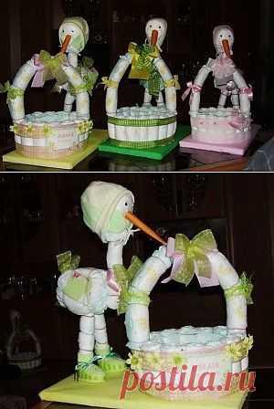 Корзина из памперсов-подарок новорожденному. МК / Другие виды рукоделия / PassionForum - мастер-классы по рукоделию