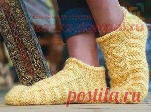 Носки-тапочки «Мокасины» (Вязание спицами) | Журнал Вдохновение Рукодельницы