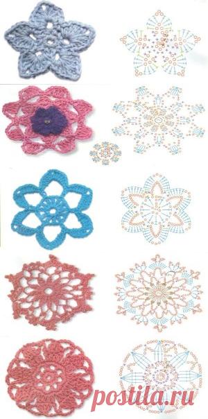 мотивы цветы схемы вязания цветов крючком энциклопедия рукоделия