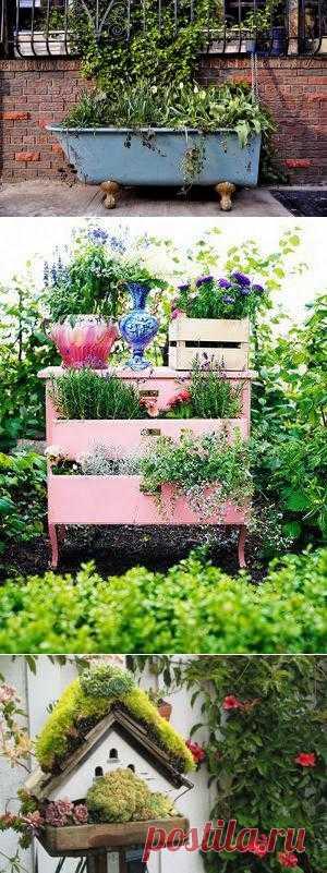 Украшаем сад цветами и старой мебелью