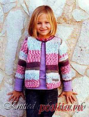 Меланжевый жакет для девочки - KnittedFashion.info