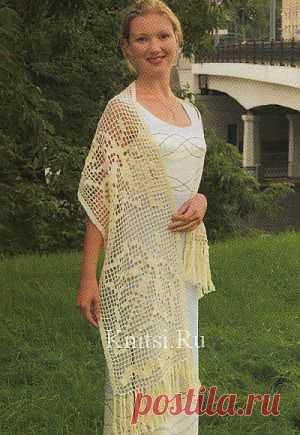 Белый палантин. Вязание для женщин / Шали палантины / Крючком