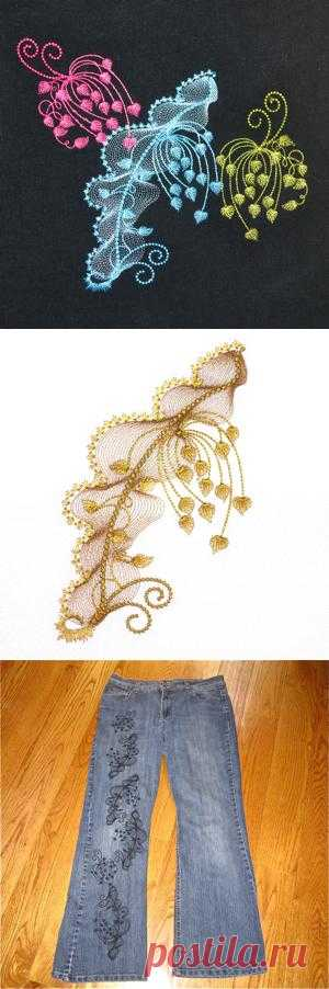 fantasy nature exclusive leaf flower tonal embroidery