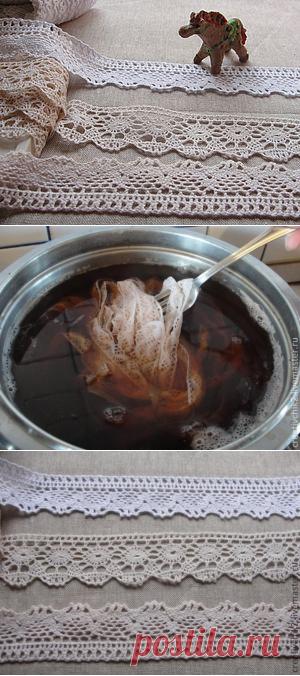 Тонируем кружево чаем и кофе под винтаж – Ярмарка Мастеров