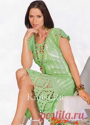 Зеленое платье. Вязание для женщин / Платья / Крючком