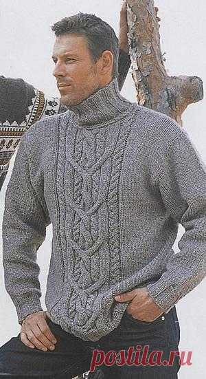 Мужской свитер с красивой центральной косой | Шкатулочка для рукодельниц