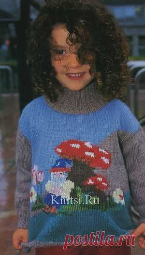 Пуловер с мотивом Гном. Вязание для детей / Детское / Спицами