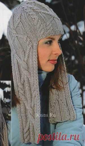 Вязание. Шапочка шлем с косичками.