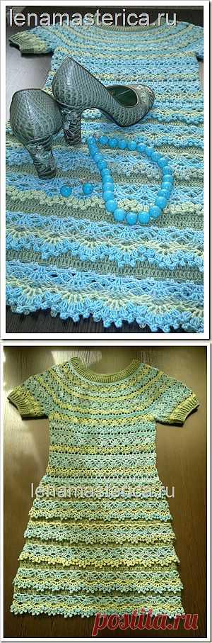 """Платье """"Голубая лагуна"""". Связано крючком из 100% хлопка."""