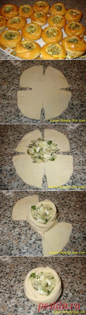 Формовка булочек с начинкой