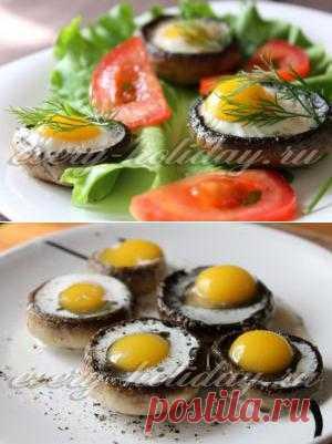 Fried eggs in champignons