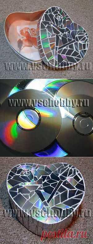 Мозаика из CD дисков на шкатулке своими руками