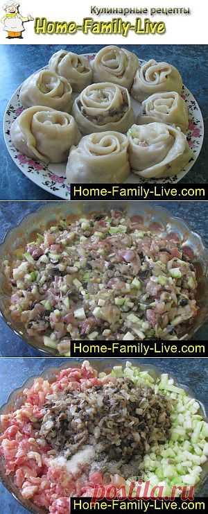 Манты розочки - пошаговый фоторецепт - блюдо на пару | Кулинарные рецепты