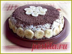 Банановый торт без выпечки. | Простые рецепты.