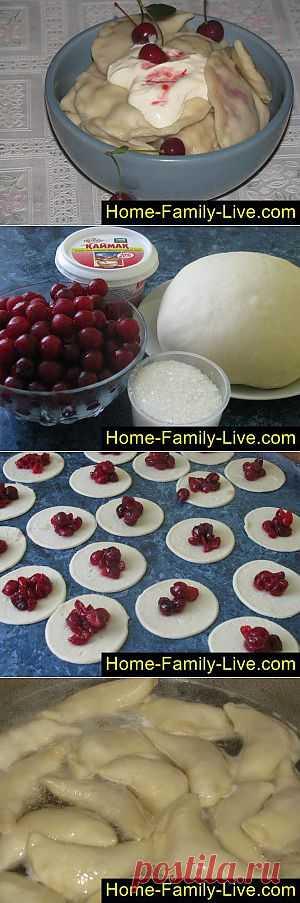Вареники с вишней - пошаговый фоторецепт - вареники с ягодной начинкой | Кулинарные рецепты