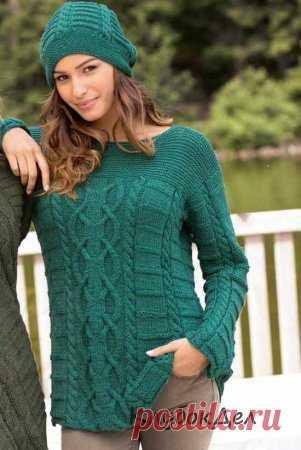 5a3c2b21914 Пуловер и шапка иссиня-зеленого цвета. Вязание спицами для женщин ...