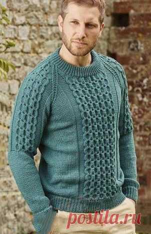 Вязаный мужской свитер с рукавом реглан