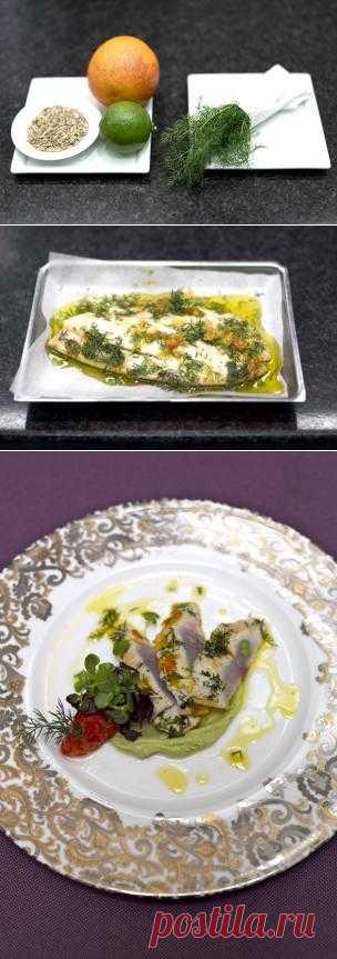 3 в 1: Рыба  с тартаром из помидоров, имбиря и пюре авокадо